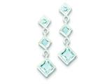 Sterling Silver Polished Blue Topaz Post Dangle Earrings style: QE9413BT