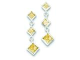 Sterling Silver Polished Citrine Post Dangle Earrings style: QE9413CI