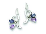 Sterling Silver Polished Amethyst Iolite Post Earrings style: QE9420