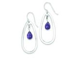 Sterling Silver Purple Glass Bead Shepherd Hook Earrings style: QE9424