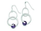 Sterling Silver Purple Glass Bead Shepherd Hook Earrings style: QE9426