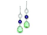 Sterling Silver Purple and Clear Cubic Zirconia And Lt. Green Glass Dangle Earrings style: QE9429