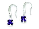 Sterling Silver Purple Cubic Zirconia Dangle Earrings style: QE9436