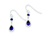 Sterling Silver Purple Cubic Zirconia  Dangle Earrings style: QE9439