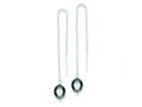 Sterling Silver Hematite Bead Dangle Earrings style: QE9449