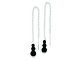 Sterling Silver Black Glass Bead Dangle Earrings style: QE9452