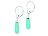 Sterling Silver Turquoise Stone and Cubic Zirconia Dangle Earrings style: QE9453