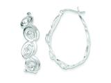 Sterling Silver Oval With Cubic Zirconia Hoop Earrings style: QE9484