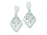 Sterling Silver Cubic Zirconia With Stellux Crystal Post Earrings style: QE9536
