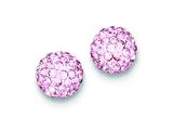 Sterling Silver 10mm Pink Cubic Zirconiaech Crystal Post Earrings style: QE9541