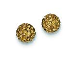 Sterling Silver 8mm Golden Cubic Zirconiaech Crystal Post Earrings style: QE9542