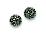 Sterling Silver 10mm Charcoal Cubic Zirconiaech Crystal Post Earrings style: QE9547