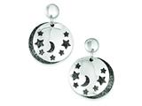 Sterling Silver Moon And Stars Black Rhodium Two Disc Post Earrings style: QE9585