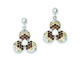 Sterling Silver Tri-color Cubic Zirconia Flower Dangle Post Earrings style: QE9598