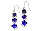 Sterling Silver Antiqued Purple Cubic Zirconia Dangle Earrings style: QE9600