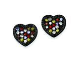 Sterling Silver Black Rhodium Multi-colored Cubic Zirconia Heart Post Earrings style: QE9602