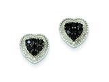 Sterling Silver Black Cubic Zirconia Heart Post Earrings style: QE9606