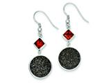 Sterling Silver With Black Druzy And Red Cubic Zirconia Round Dangle Earrings style: QE9613