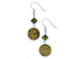 Sterling Silver With Yellow Druzy And Green Cubic Zirconia Round Dangle Earrings style: QE9618