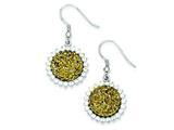 Sterling Silver With Yellow Druzy and Cubic Zirconia Round Shepherd Hook Earrings style: QE9620