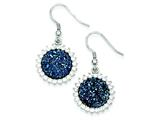 Sterling Silver With Blue Druzy and Cubic Zirconia Round Shepherd Hook Earrings style: QE9621