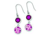 Sterling Silver With Pink Cubic Zirconia And Pink Preciosa Crystal Dangle Earrings style: QE9663