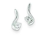 Sterling Silver Polished Cubic Zirconia Post Earrings style: QE9697