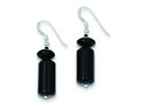 Sterling Silver Black Agate Stone Earrings style: QE9718