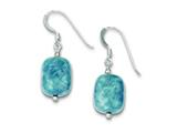 Sterling Silver Amazonite and Grey Glass Bead Stone Earrings style: QE9729