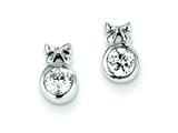 Sterling Silver Bow W/ Cubic Zirconia Circle Post Earrings style: QE9775