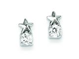 Sterling Silver Star Cubic Zirconia Post Earrings style: QE9776