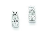 Sterling Silver Heart W/ Oval Cubic Zirconia Post Earrings style: QE9777