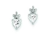 Sterling Silver Bow W/ Cubic Zirconia Heart Post Earrings style: QE9778