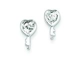 Sterling Silver Heart Shaped Key Cubic Zirconia Post Earrings style: QE9780