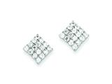 Sterling Silver Square Cubic Zirconia Post Earrings style: QE9783
