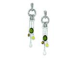 Sterling Silver Antiquebrown/green/yellow/clear Cubic Zirconia Post Earrings style: QE9793