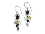 Sterling Silver Garnet Blue Topaz Citrine And Amethyst Dangle Earrings style: QE9798