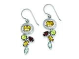 Sterling Silver Citrine Garnet Blue Topaz And Peridot Dangle Earrings style: QE9799