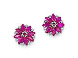 Sterling Silver Diamond and African Ruby Earrings style: QE9988R