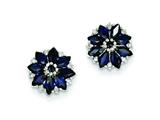 Sterling Silver Diamond and Sapphire Earrings style: QE9988S