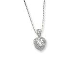 Sterling Silver Cubic Zirconia Heart On 18 Chain Necklace style: QG1006