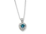 Sterling Silver Blue Cubic Zirconia Heart On 18 Chain Necklace style: QG1008