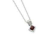 Sterling Silver Red Cubic Zirconia On 18 Chain Necklace style: QG1015