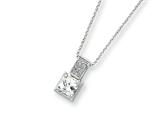 Sterling Silver Cubic Zirconia On 18 Chain Necklace style: QG1018