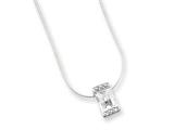 Sterling Silver Clear Cubic Zirconia Pendant On 18 Chain Necklace style: QG1025