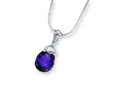 Sterling Silver Dark Purple Cubic Zirconia Pendant On 18 Chain Necklace style: QG1027