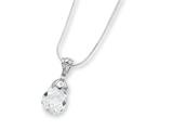 Sterling Silver Clear Cubic Zirconia Pendant On 18 Chain Necklace style: QG1028