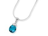 Sterling Silver Blue Cubic Zirconia Pendant On 18 Chain Necklace style: QG1029