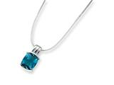 Sterling Silver Blue Cubic Zirconia Pendant On 18 Chain Necklace style: QG1032