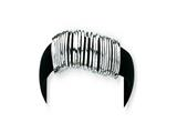 Sterling Silver Black Rubber Bracelet style: QG1093